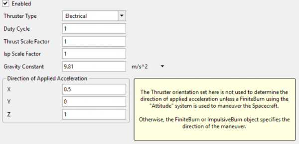 Thruster properties in Freeflyer